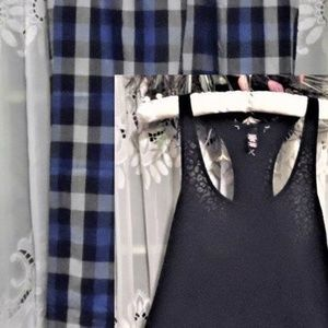 XS new BURNOUT TANK PLAID FLANNEL PANTS pajama set
